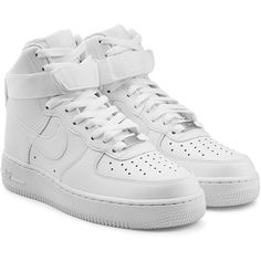 Nike Air Force 1 High '07 Leather Sneakers ($89) ❤ liked on Polyvore featuring shoes, sneakers, nike, white, velcro sneakers, white high tops, leather sneakers, white lace up sneakers and nike sneakers