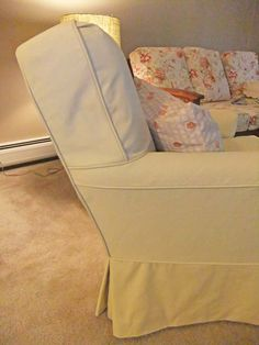 Custom-made slipcover with a classic fit and cottage charm.