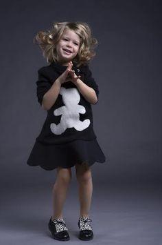 Ilona tand wearing black dress Ilinca and Il Gufo dress - kids fashion