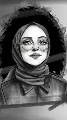 Jilbab – Hijab World Girl Drawing Sketches, Girly Drawings, Cool Art Drawings, Drawing Faces, Girl Cartoon, Cartoon Art, Hijab Drawing, Buch Design, Islamic Cartoon