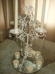 12 x XL Ivory Shabby Chic Wedding Table Centre Piece Candle Candelabra 4 arm