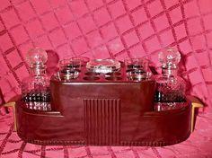 Antique RARE Bakelite 1930 Art Deco Large Bar Caddy Server w/ Glass Baekelite