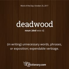 Dictionary.com's Word of the Day - deadwood - (in writing) unnecessary words, phrases, or exposition