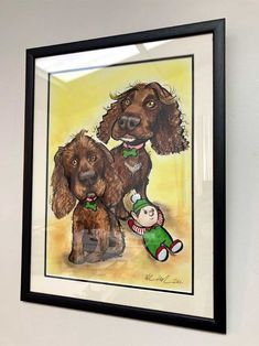 Dogs Caricature Portrait Gift! framed pet portraits ireland #caricatures #dogportraitsireland #fungiftsforpetowners #giftsfordogowners #petartistsireland #petdrawingsireland #petportraitsireland