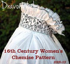 • Sewing Pattern - 16th Century Women's Smock or Chemise. Sizes S-XL. All patterns in one envelope • Pattern based on a real garment found in Germany, but style can be documented all over Western Europe in the 1500s from Italy to England to Germany to Sweden. (www.dravonworks.c...)