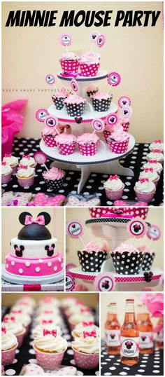 Check out this pink and black Minnie party!  So many fun ideas! See more party planning ideas at CatchMyParty.com!