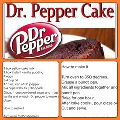 Love me some Dr. going to try this tonight.not too sure on the yellow cake mix. Easy Desserts, Delicious Desserts, Yummy Food, Dr Pepper Cake, Dr Pepper Cupcakes, Cake Pops, Cake Recipes, Dessert Recipes, Fruit Recipes