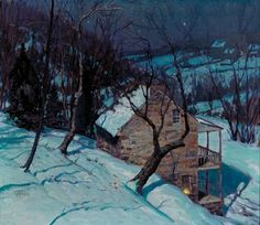 GEORGE WILLIAM SOTTER (1899-1953), A WINTER'S EVENING, oil on canvas, 22 x 26 in. (55.9 x 66 cm)