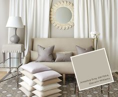"Amazing Gray by Sherwin-Williams, described by Country Living as ""a medium gray that has a subtle hint of green"""