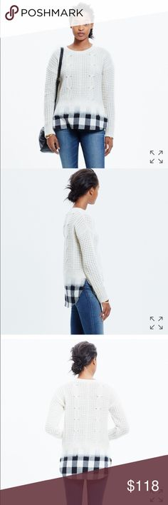 NWT madewell wintermix cable knit plaid sweater From madewell: We took care of the styling for you with this unique pullover sweater that transitions from supersoft cableknit to effortlessly cool flannel. Our designers made it extra special, using a felting technique to seamlessly blend the two looks (so you don't have to choose just one).  Cream off white with black and white buffalo plaid layer. Cool ombré effect.  Size small. New with tags.  Extrafine merino wool. Madewell Sweaters Crew…