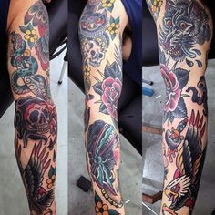 Mens Full Sleeve Serpent And Skull Tattoo