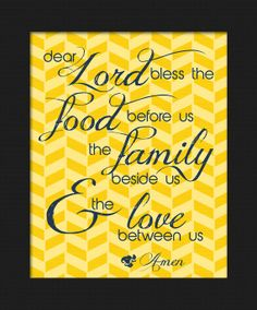 Dining Room Prayer Wall Decor Yellow  Navy herringbone pattern dear Lord bless the food before us the family beside us and the love between us amen by LostSockDesigns, $5.00