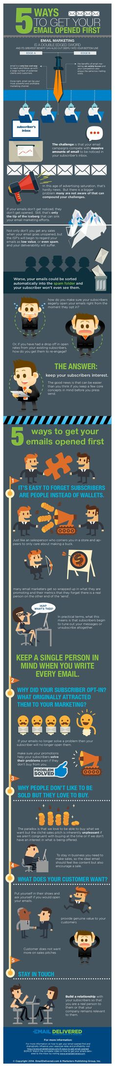 5 ways to get your email opened first #Infografica #infographic, statistiche e spunti di riflessione. #diellegrafica