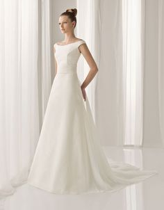 A-line floor length satin bridal gown with beading embellishment