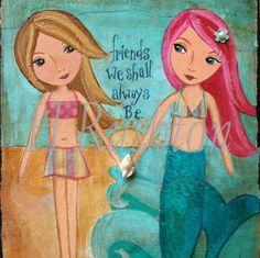 Kids Wall Art, Mermaid Wall Art ,Print, Mixed Media ,Children Decor , Beach Decor 8x10