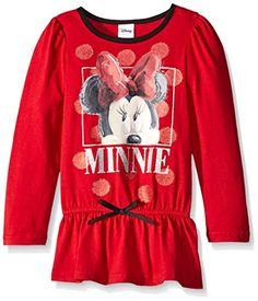 Disney Little Girls Minnie Long Sleeve Fashion Top Rocker Red 6X * Click image to review more details.