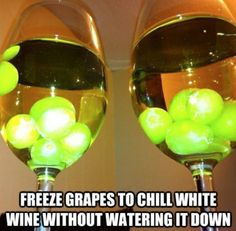 Frozen Grapes for chilling wine, pool noodle in kids bed