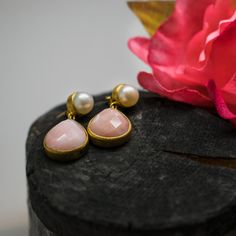 Pearl and Pink Opal Stone Earrings, Pearl Earrings, Pink Opal, Collections, Rose Gold, Pearls, Jewelry, Pearl Studs, Jewlery