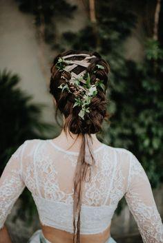 romantic wedding hair - photo by Pat Robinson Photography http://ruffledblog.com/artistic-botanical-wedding-inspiration