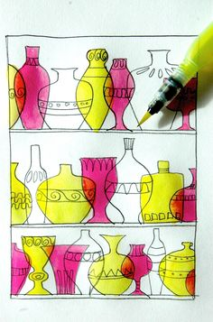 Thinking about something decorative, colorful and transparent we thought of Murano glassware, to do an exercise with the primary and secondary colours. We made a drawing with pencils and permanent …