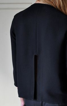 Jacket back detail with graphic cut out; contemporary fashion // Rachel Comey