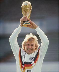 Jurgen Klinsmann, 1990 World Cup winner, during a publicity photo shoot. Football Is Life, Football Gear, World Football, World Cup Champions, We Are The Champions, Germany Players, German National Team, Germany Football, World Cup Winners