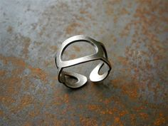 hand cut sterling silver ring ~ part of Peruvian Footprints Collection entirely handmade