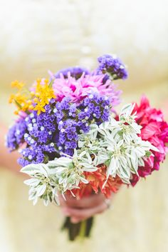 color blocking bouquet, photo by Paper Antler http://ruffledblog.com/jackson-meadow-wedding #flowers #bouquets #spring