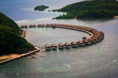 HUMA Island Resort in Palawan, Philippines Vacation Wishes, Vacation Destinations, Beach Hotels, Beach Resorts, Bungalow Resorts, Water Bungalow, Philippines Beaches, Puerto Princesa, Palawan