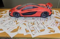 Paper Model Car, Paper Car, Paper Models, Paper Toys, Paper Crafts Origami, Diy Paper, Origami Templates, Mclaren P1, Lamborghini