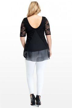 Plus Size Avenue Lace and Chiffon Top | Fashion To Figure
