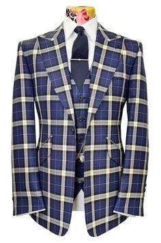 The Morgan Lapis Blue Suit with Indigo & White Overcheck