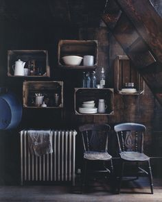 rustic crate shelves