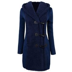 Chic Style Hooded Long Sleeve Button Design Worsted Coat For Women #women, #men, #hats, #watches, #belts
