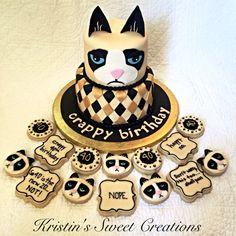 Grumpy Cat 40th birthday cake and cookies!