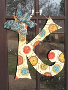 Wood Initial K Door Hanger by ASouthernCreation on Etsy