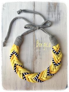 Monocrome yellow t-shirt yarn necklace - upcycled necklace, textile jewelry, eco friendly necklace, Custom Jewelry, Diy Jewelry, Jewelry Gifts, Jewelry Making, Jewellery, Yarn Necklace, Fabric Necklace, Knitted Necklace, Necklaces