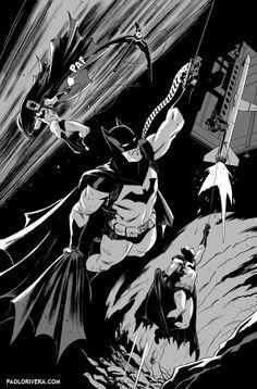 Batman Black and White by Paolo Rivera, Inked by Joe Rivera *