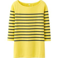 UNIQLO Women Pure Blue Japan Stripe Crew Neck 3/4 Sleeve Length T (32 BRL) ❤ liked on Polyvore featuring tops, t-shirts, sweaters, yellow, stripes, striped t shirt, long tee, blue striped t shirt, 3/4 sleeve t shirts and striped boatneck tee