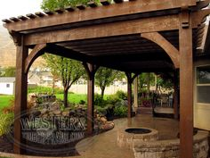 Free standing pergola with Rich Cordoba stain and Roosevelt Step profile. Custom-sized to accommodate the design of the home.