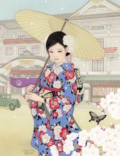Beautiful Women In Kimono Grace The Breathtaking Artwork Of Miki Katoh – grape Japan Japanese Art Modern, Japanese Artwork, Japanese Prints, Japanese Culture, Anime Kimono, Geisha Art, Japan Painting, Japon Illustration, L5r