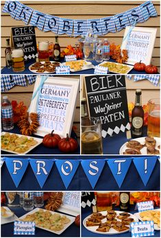 Oktoberfest Party Decor - printable Oktoberfest banners, water bottle labels, food tents, and subway art  - plus party tips