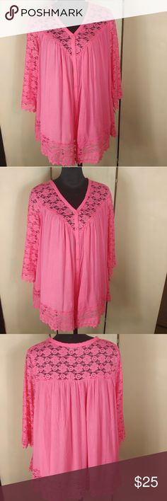 New 24/7 Denim Lace Embellished Boho Tunic New never worn. Punchy coral pink color. 30 inches pit to pit, 35 inches in length. Pairs great with a pair of darkwash jeans. Don't miss out 24/7 Denim Tops Tunics