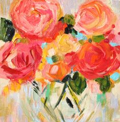 """Small Floral Still Life, Impressionistic, Abstract Flowers in Vase, Original on Canvas 10""""x 10"""", """"Jenna"""""""