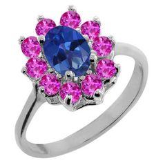 Rakuten.com - 1.45 Ct Oval Sapphire Blue Mystic Topaz Pink Sapphire Sterling Silver Ring
