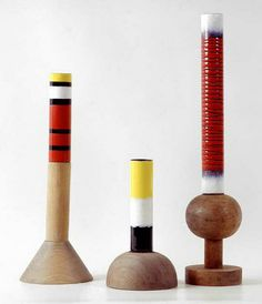 Ettore Sottsass - Vases - émail sur cuivre, support bois - 1958