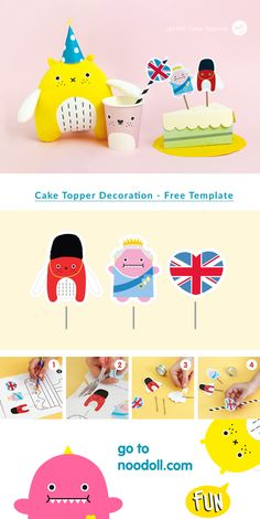 This Saturday is the Queen of England's official brithday she will be 92 years old! The Ricemonsters are eager to celebrate this special brithday; they will be trowing a street party in Ricetown center with bunting, cakes and tea! This week you will learn to make some DIY London themed cake toppers. Download the template here and follow the instructions below to make your own DIY London Cake Topper! Diy Projects For Kids, Crafts For Kids, Arts And Crafts, London Cake, Freebies, Free Activities, Stationery Design, Printable Coloring Pages, Themed Cakes