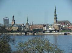City skyline over river Daugava. Riga, Latvia