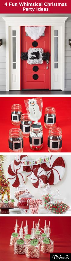 Craft whimsical party fun with these DIY ideas! Santa belt door décor will give your guests a jolly welcome. Matching mason jar favors will carry the theme throughout your home. A peppermint swirl candy bar and sweet treats will add a touch of cheer to your holiday party. Get everything you need to host a jolly holiday party at your local Michaels store.