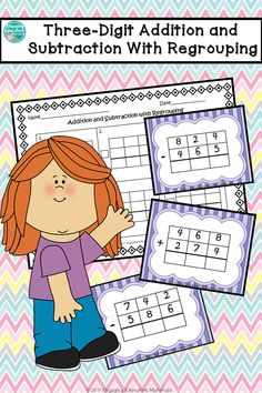 Three-digit mixed addition and subtraction task cards with regouping. 2nd Grade Centers, 5th Grade Math, Second Grade, Grade 2, Teaching Resources, Teaching Math, Teaching Ideas, Classroom Hacks, Math Numbers